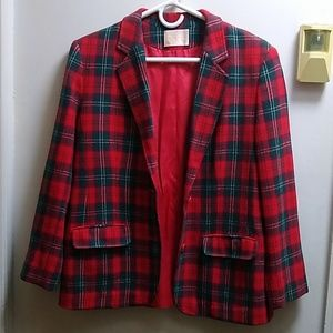 """Pendleton"" Plaid Blazer Jacket; Size S"